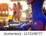 woman dj takes control platter... | Shutterstock . vector #1172158777