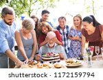 family celebration or a garden... | Shutterstock . vector #1172159794