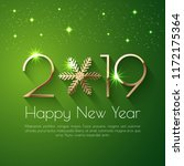 happy new year 2019 text design.... | Shutterstock .eps vector #1172175364