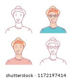 young man portraits set linear...   Shutterstock .eps vector #1172197414