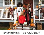 young kids trick or treating... | Shutterstock . vector #1172201074