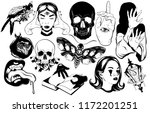 vector set of hand drawn... | Shutterstock .eps vector #1172201251