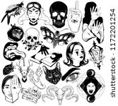 vector set of hand drawn... | Shutterstock .eps vector #1172201254