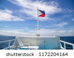 filipino flag flying in a ferry ... | Shutterstock . vector #1172204164