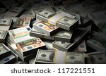 stack of money euro and dollar... | Shutterstock . vector #117221551