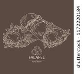falafel in pita bread with... | Shutterstock .eps vector #1172220184