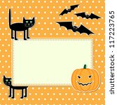 halloween card with funny black ... | Shutterstock . vector #117223765