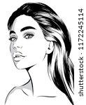 beauty female model face | Shutterstock .eps vector #1172245114