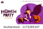 halloween holiday greeting... | Shutterstock .eps vector #1172285107