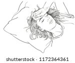 sketch of tired young woman... | Shutterstock .eps vector #1172364361