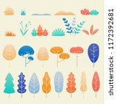 leaves flat design isolated set....   Shutterstock .eps vector #1172392681