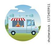food truck cartoon | Shutterstock .eps vector #1172405911
