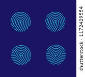 fingerprint scan icon set dash... | Shutterstock .eps vector #1172429554