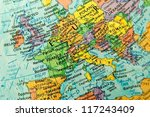 close up europe on globe   Shutterstock . vector #117243409