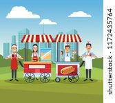 hot dog cart in park   Shutterstock .eps vector #1172435764