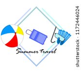 summer travel suitcase ball... | Shutterstock .eps vector #1172446024