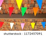 color flag texture on the roof | Shutterstock . vector #1172457091