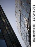 angled glass and steel city