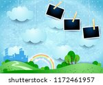 Surreal landscape with hanging clouds, small city and photo frames. Vector illustration eps10