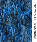blue leaves floral pattern.... | Shutterstock . vector #1172467987