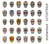 big set of mexican sugar skulls ... | Shutterstock .eps vector #1172479414