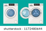 washing machine with open and... | Shutterstock .eps vector #1172480644