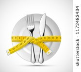 icon plate with knife  fork and ... | Shutterstock .eps vector #1172483434