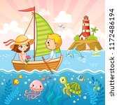 boy and a girl are sailing on a ...   Shutterstock .eps vector #1172486194