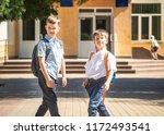 happy pupil schoolboys on... | Shutterstock . vector #1172493541