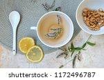 herbal tea with mint and lemon. ...   Shutterstock . vector #1172496787