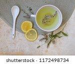herbal tea with mint and lemon. ...   Shutterstock . vector #1172498734