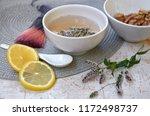 herbal tea with mint and lemon. ...   Shutterstock . vector #1172498737
