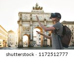 girl tourist in glasses virtual ... | Shutterstock . vector #1172512777