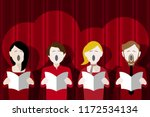 choir singers singing in front... | Shutterstock .eps vector #1172534134