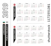 two versions of 2019 calendar... | Shutterstock .eps vector #1172551381