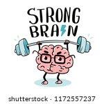 very strong cartoon brain... | Shutterstock .eps vector #1172557237