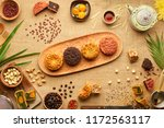 wooden tray with beautiful... | Shutterstock . vector #1172563117