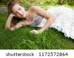 beautiful young nordic teenager ... | Shutterstock . vector #1172572864