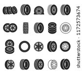 tires and wheels icon set.... | Shutterstock .eps vector #1172573674