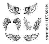 hand drawn wing. sketch angel...   Shutterstock .eps vector #1172589454