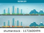 autumn city landscape and... | Shutterstock .eps vector #1172600494