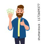 young man holding  bundles of... | Shutterstock .eps vector #1172609377