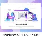 social network modern flat... | Shutterstock .eps vector #1172615134