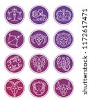 colorful zodiac vector... | Shutterstock .eps vector #1172617471