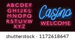 neon banner alphabet font... | Shutterstock .eps vector #1172618647