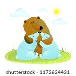 brown bear hugs two white baby... | Shutterstock .eps vector #1172624431