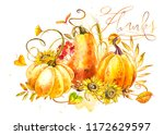 pumpkins composition. hand... | Shutterstock . vector #1172629597