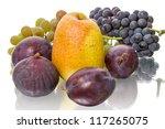 Ripe fruit  isolated on white background - stock photo