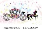 vintage floral carriage   Shutterstock .eps vector #117265639