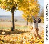 kid play with fallen yellow...   Shutterstock . vector #1172658997